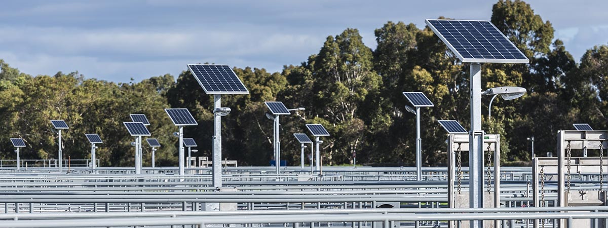 Solar panels at a sewage treatment plant