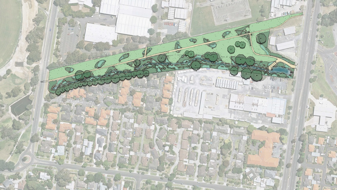 Satelite aerial image of the section of Tarralla Creek between Dorset Road and Norton Road. The image has been partially overlayed with a concept drawing showing trees, grass areas, shared paths and a stream