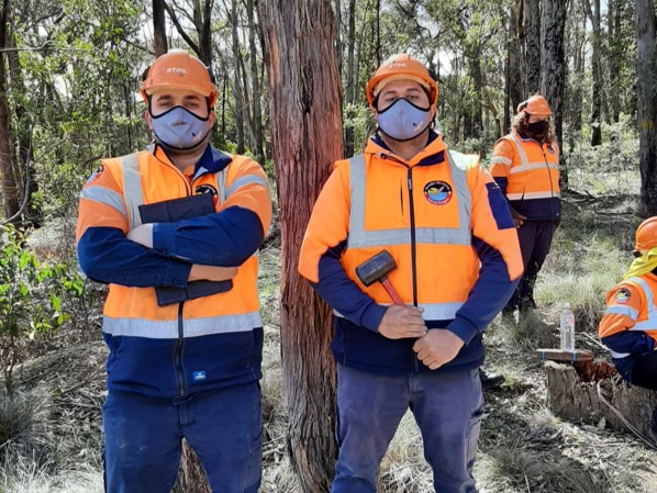 Two ranger staff dressed in safety gear in a forest setting.