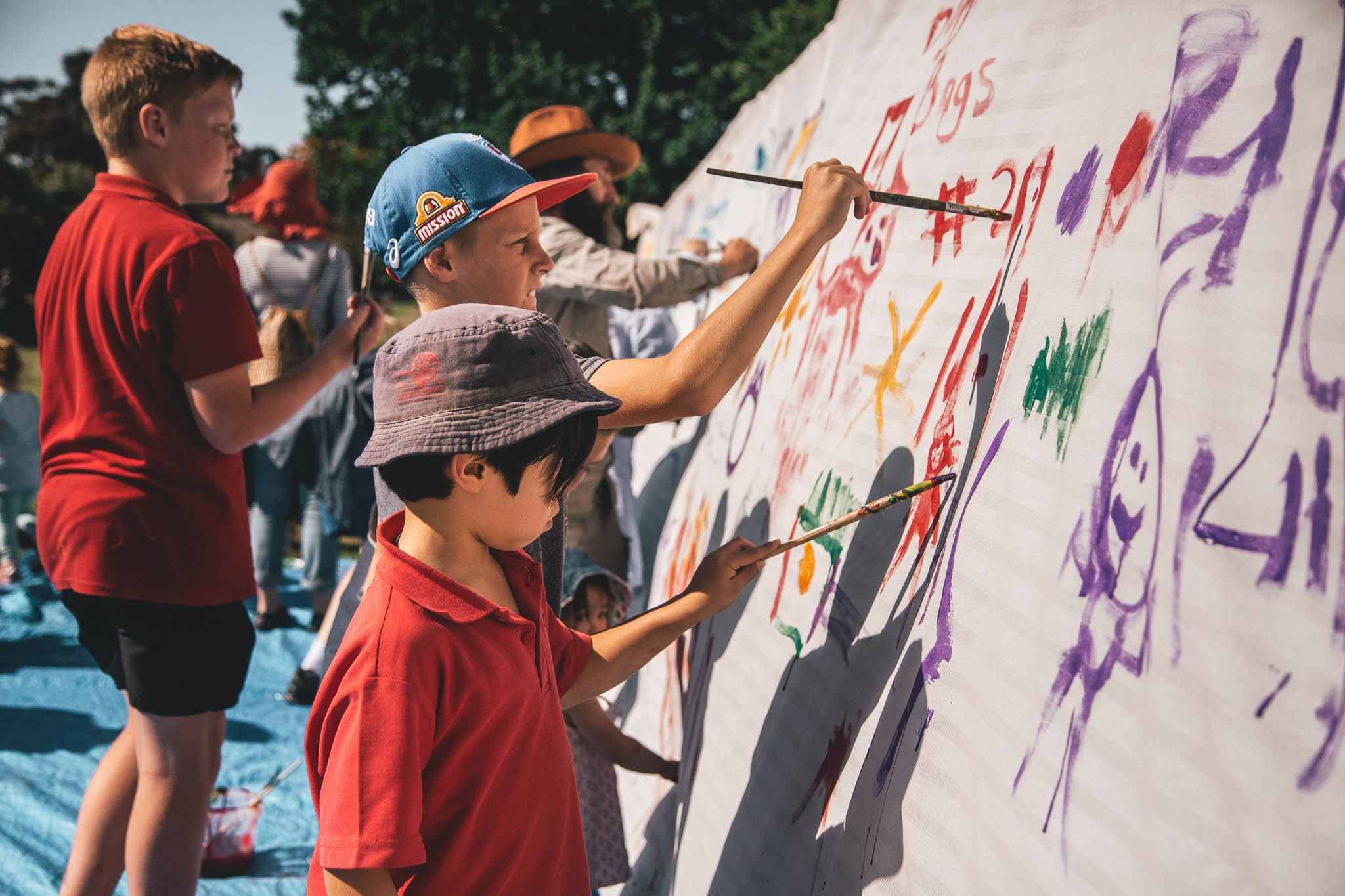 Child designed mural depicting their thoughts for Parktopia