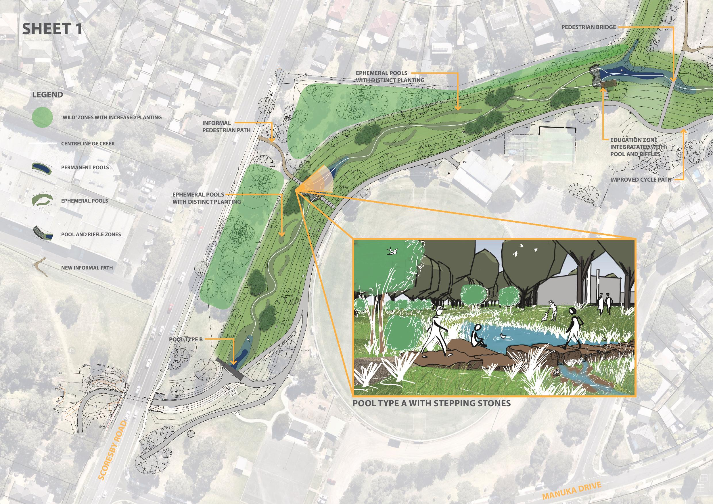 Artist illustration image showing new design features of wild zone with increased plantings