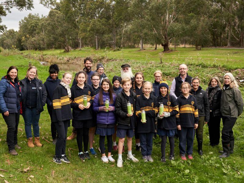 group of students at Dandenong Creek