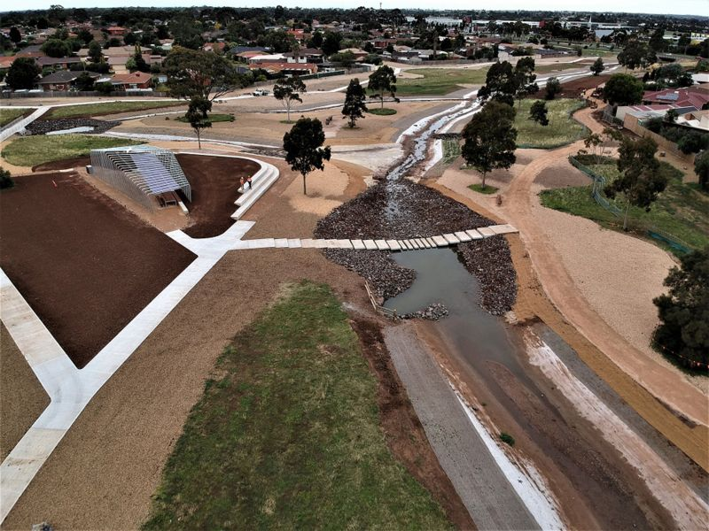 Photo of Arnolds Creek with completed urban landscaping