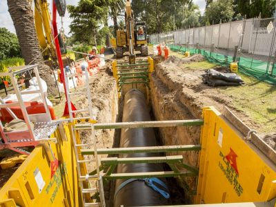 Image of first pipe being installed at Crawley Street