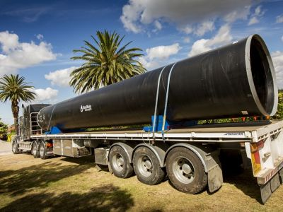 Image showing the first pipe arriving, west of GE Robinson Park