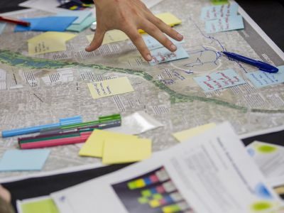Close up view of annotated concept design at Community Advisory Group workshop