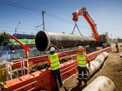 Image of pipe being installed within centre-median along St Georges Rd