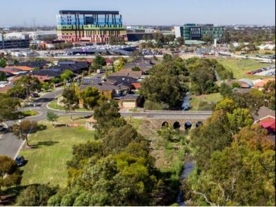 Reimagining Stony Creek aerial photo looking toward Laurel St and Sunshine Hospital