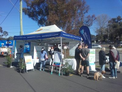 Tarralla Creek Community event outdoors with display tent