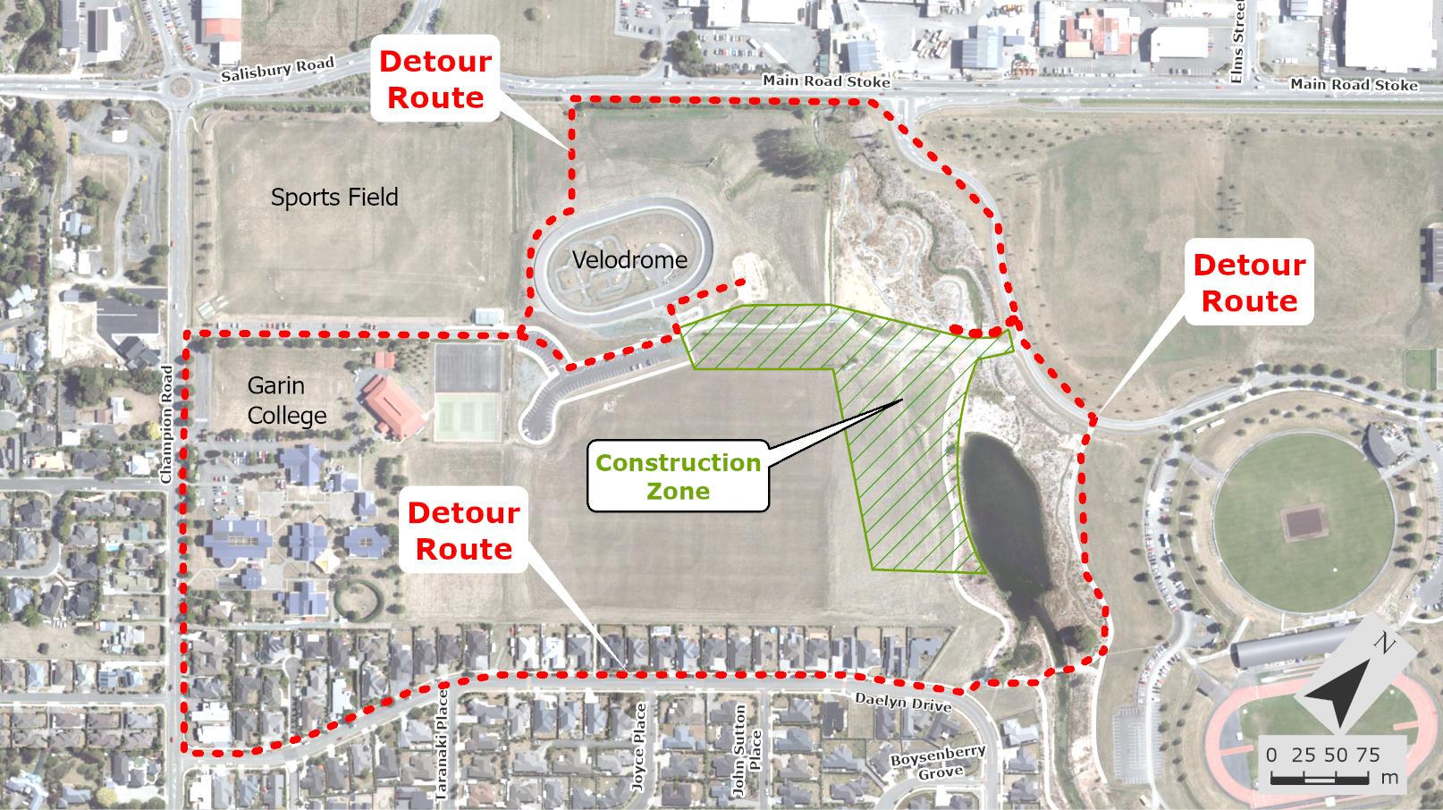 Pedestrian detours - Saxton