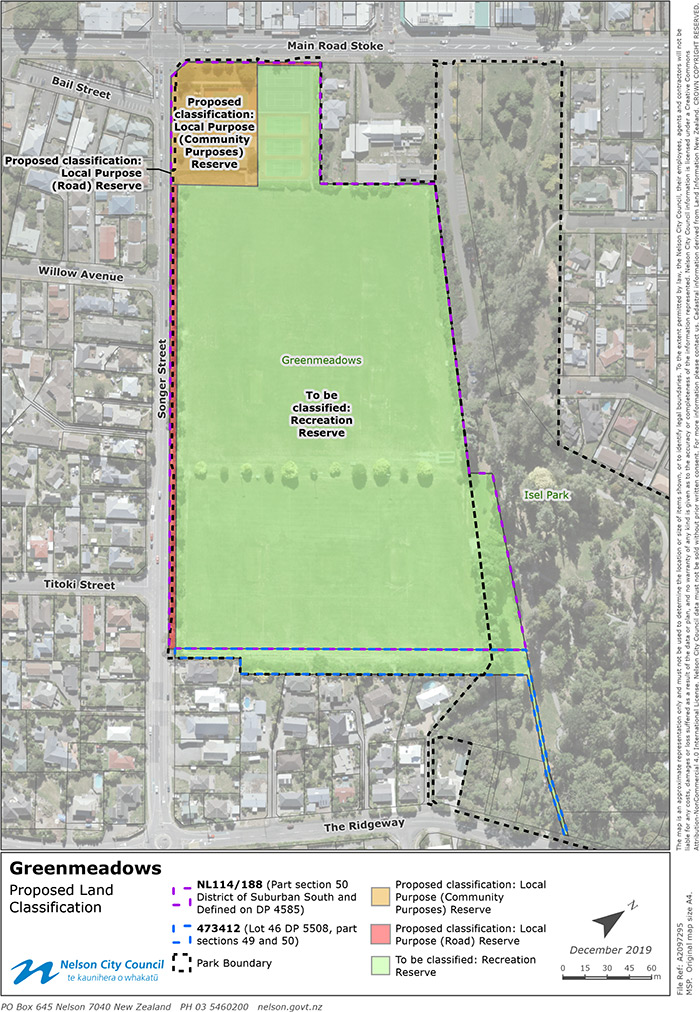 Proposed reserve classifications at Greenmeadows Community Centre Map