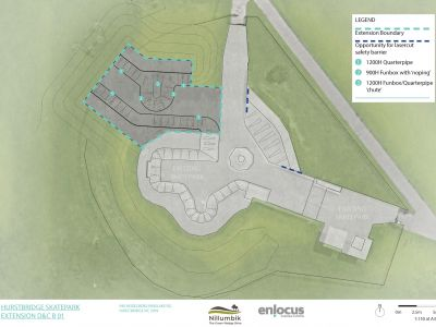 This is a concept plan of the Hurstbridge Skate Park (aerial view)