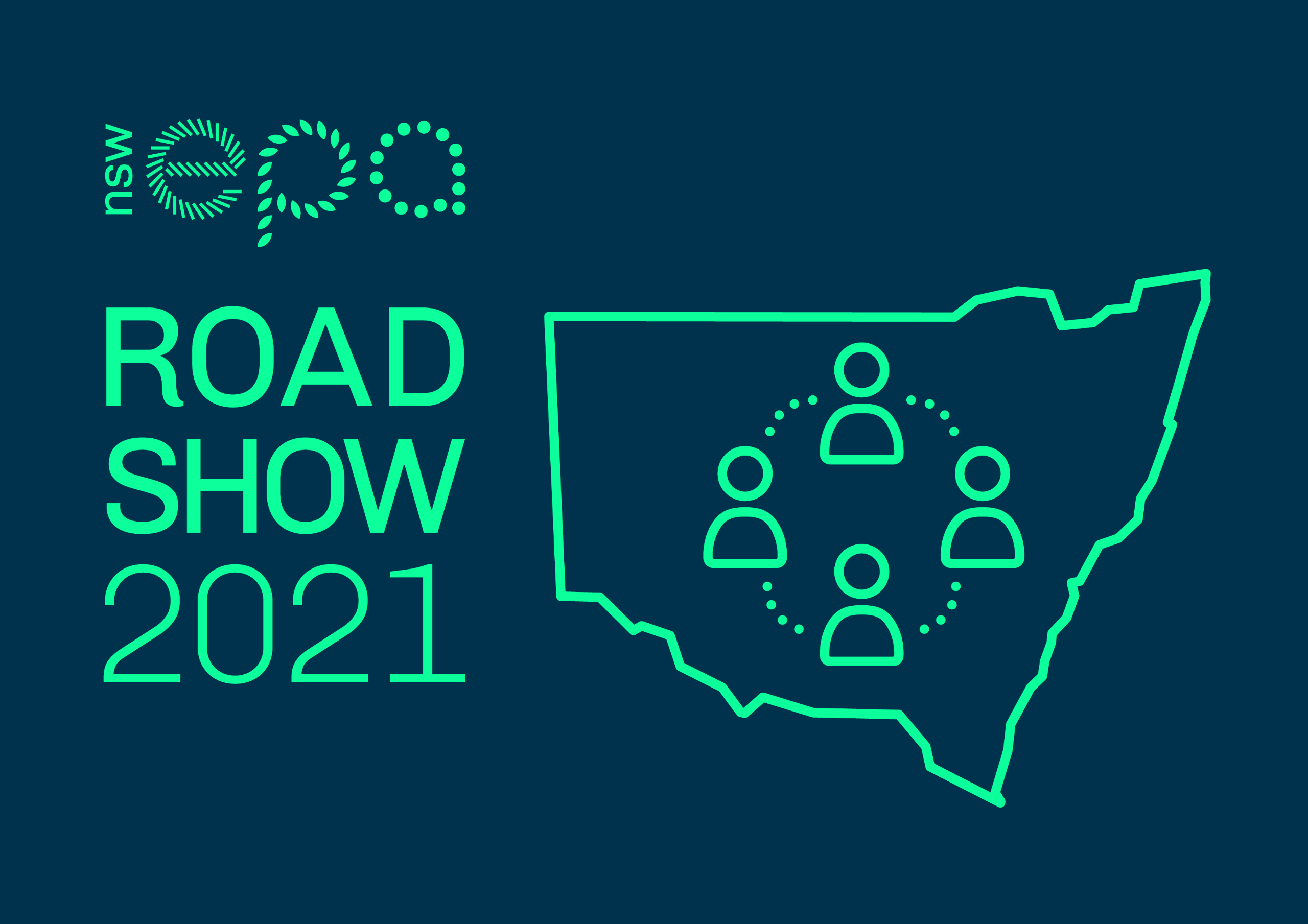 icon- text-EPA Roadshow 2021 with outline of NSW and 4 torso figures around a tablefigures