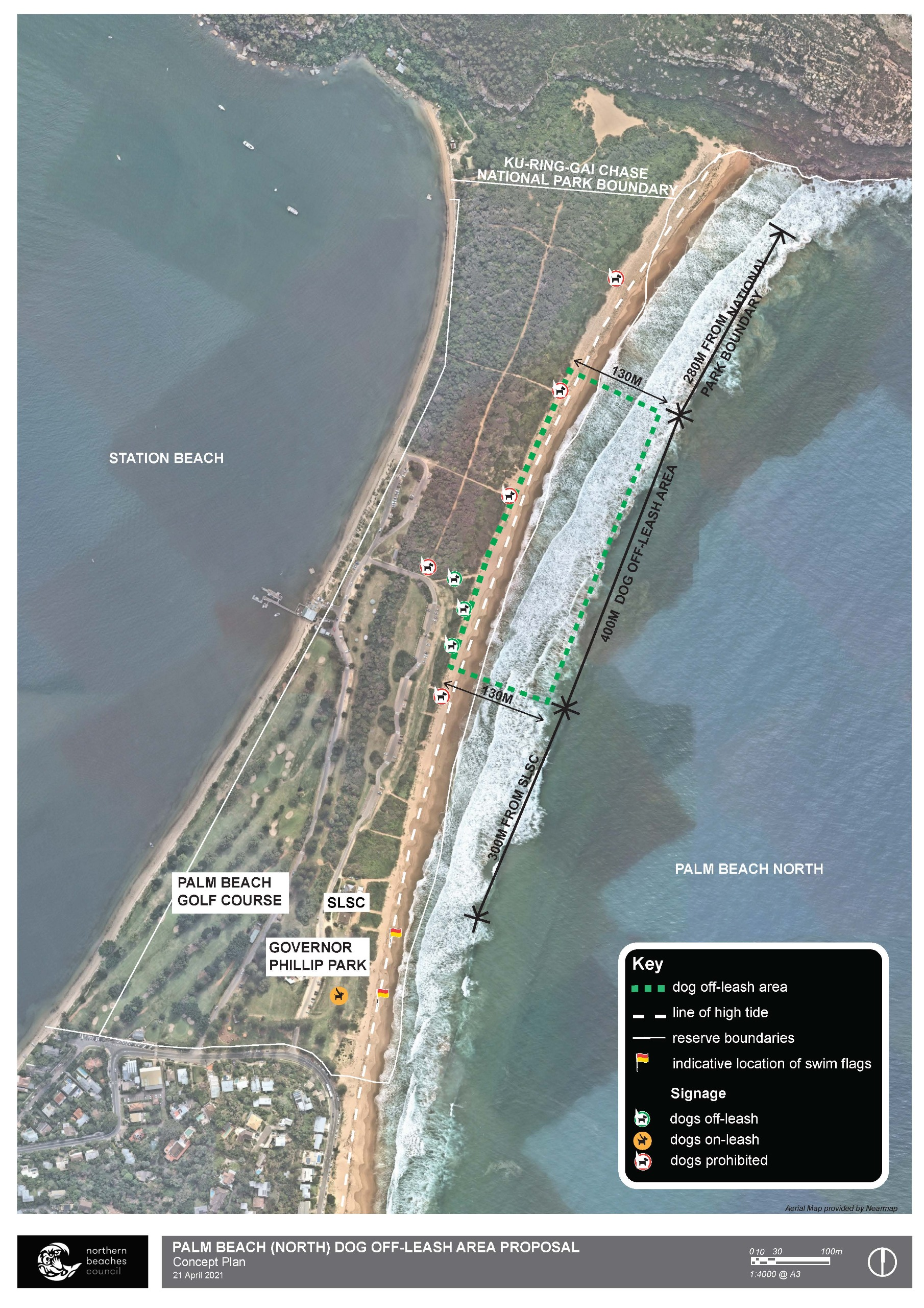 Palm Beach (north) Proposed Dog Off-Leash Area Concept Plan April 2021