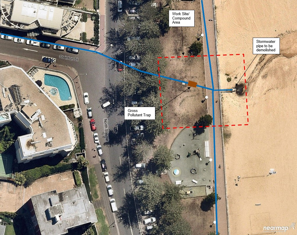 Aerial image proposed location for gross pollutant trap and stormwater upgrade at North Steyne