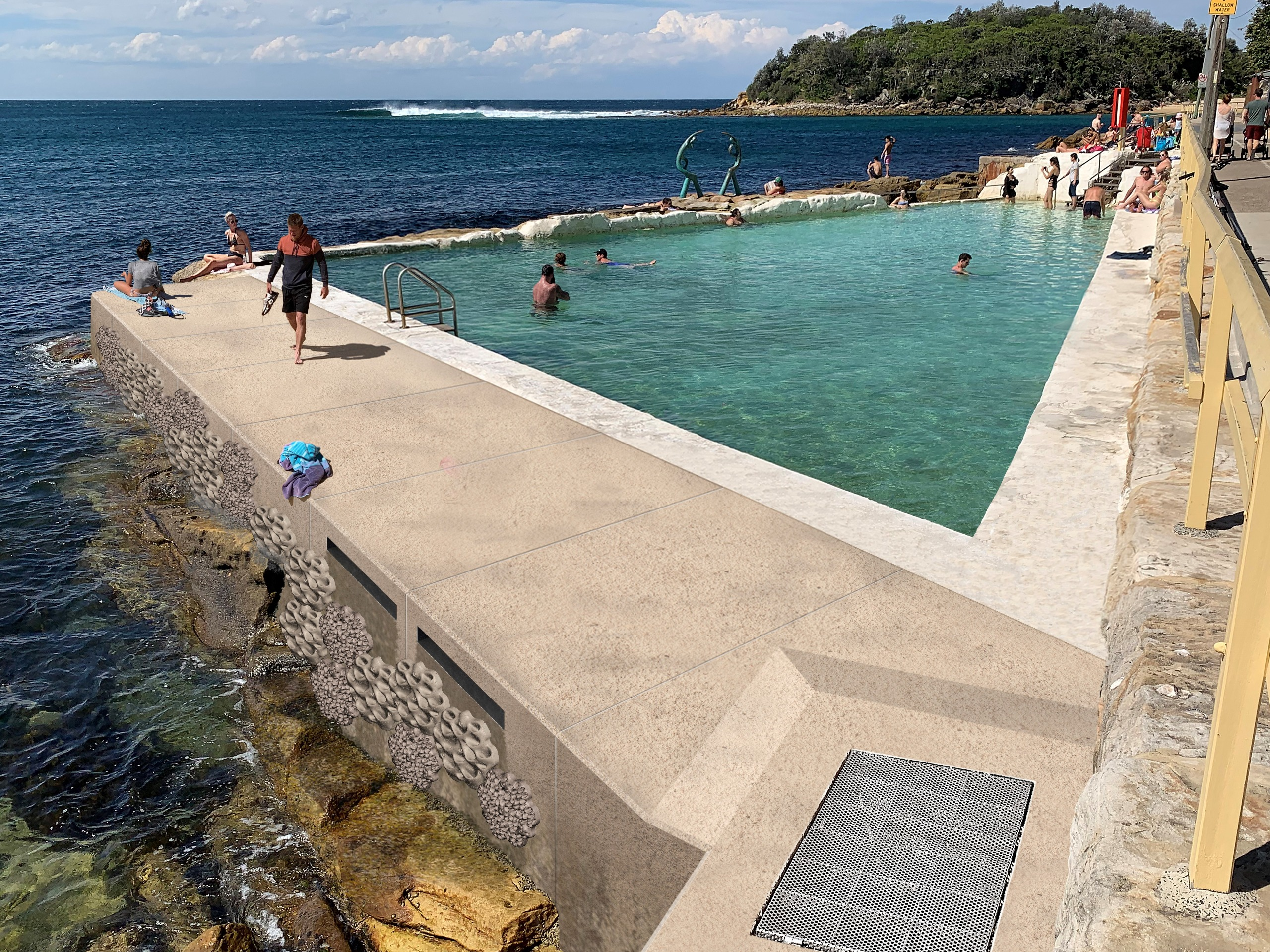 After: Fairy Bower Pool - montage renovated stormwater pipe and living seawall