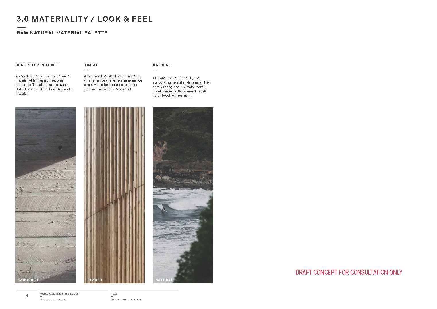 Mona Vale Beach Amenities Block concept textural finishes