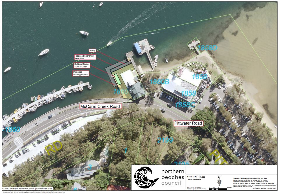 Aerial image depicting proposed outdoor dining licence area at Church Point Wharf