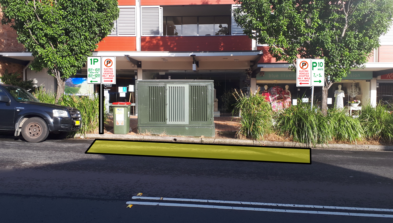 ​One proposed electric vehicle charging bay in Bungan Street