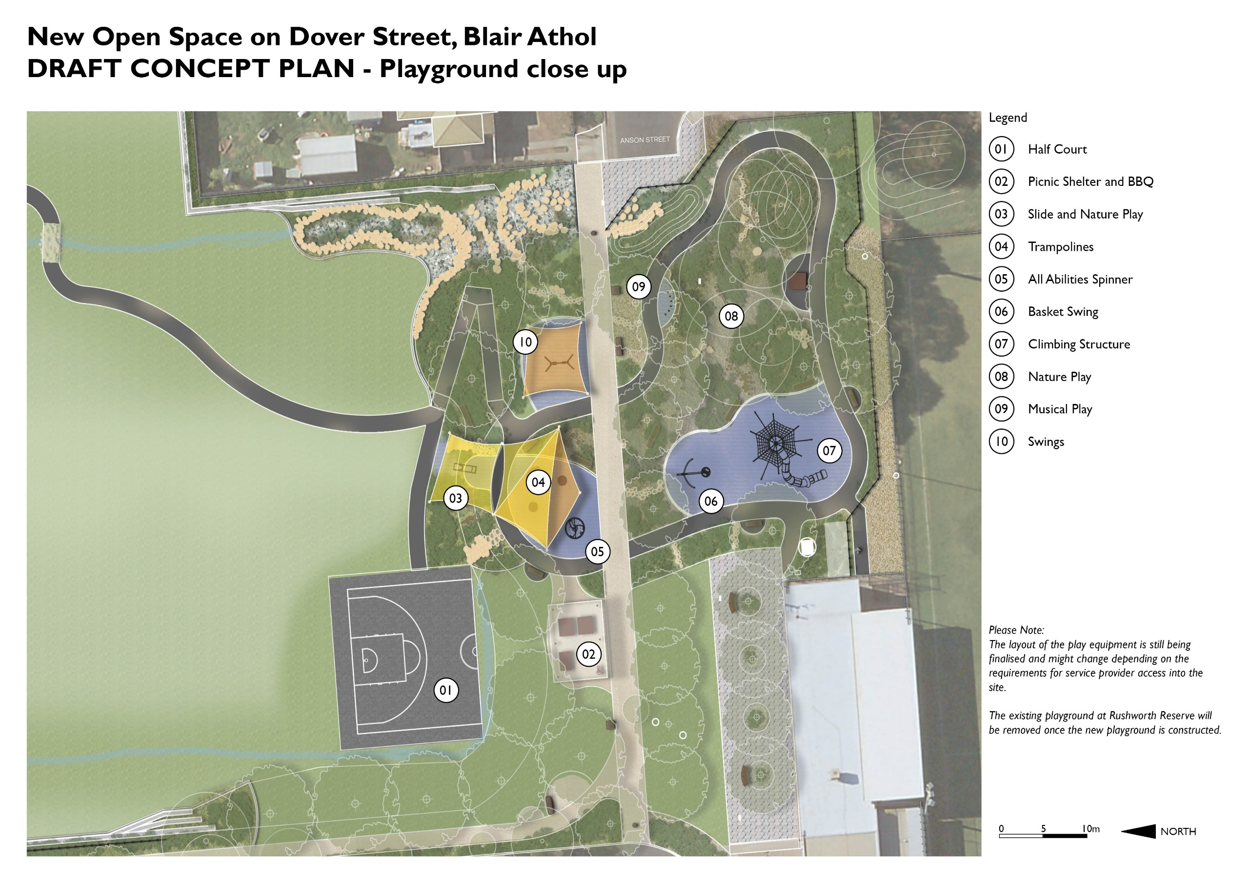 Draft concept plan of Dover St playground
