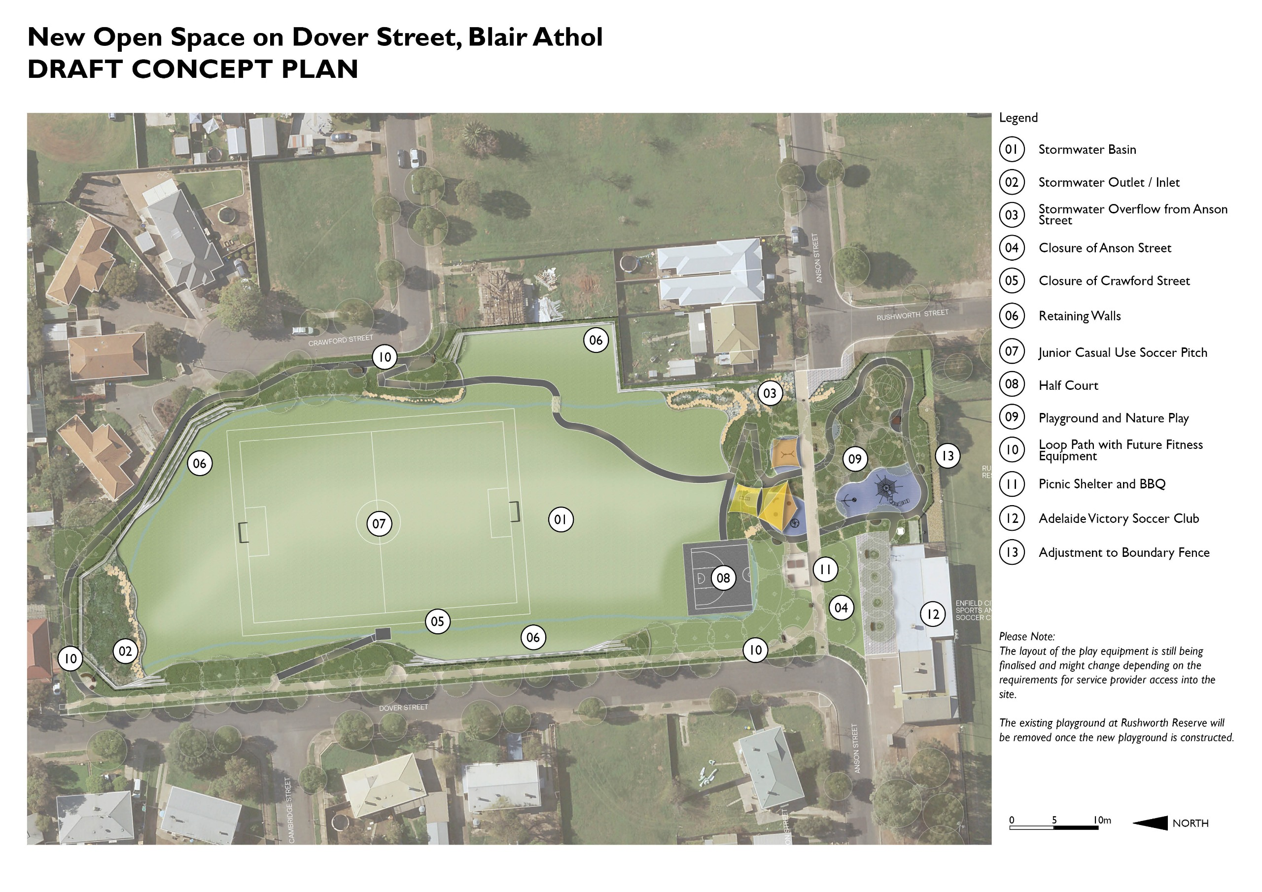 Draft concept plan for Dover St open space