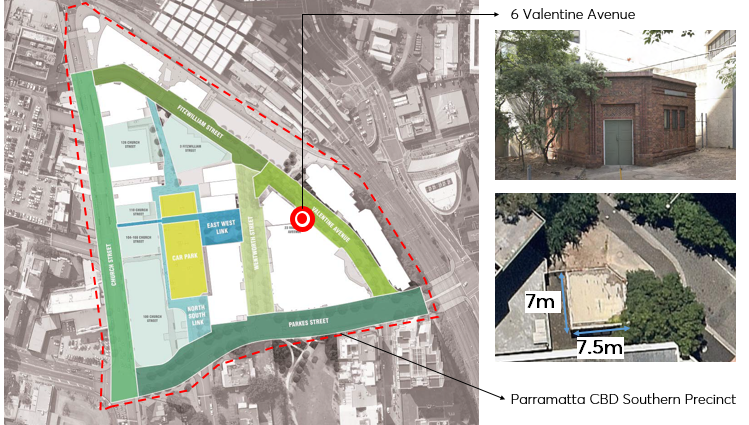 Location of 6 Valentine Avenue within the Parramatta CBD Southern Precinct