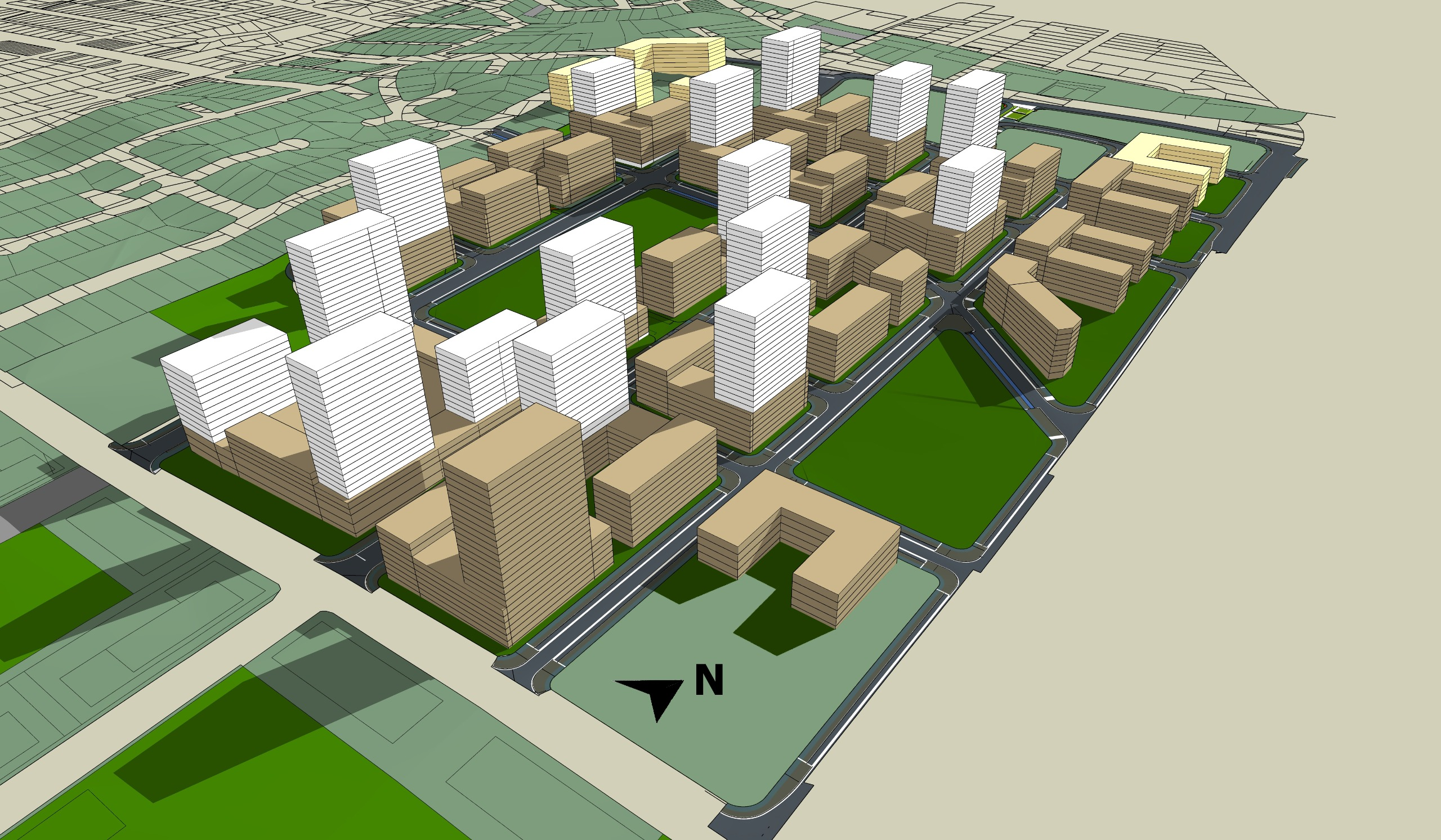 Image depicting possible shadowing of proposed buildings.