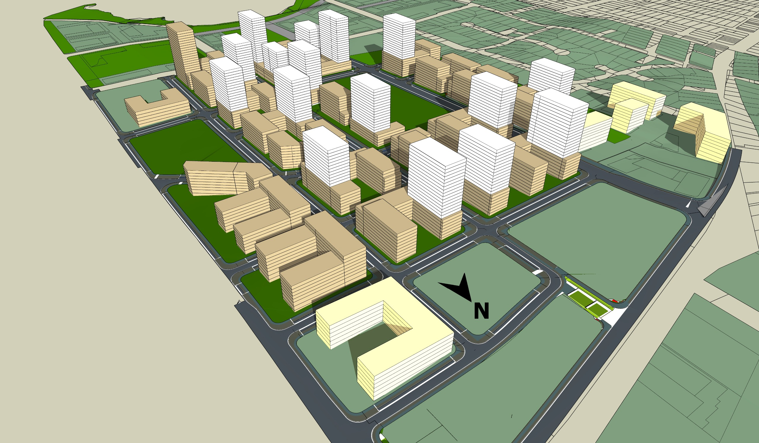 A 3D model depicting size and shadowing of proposed building.