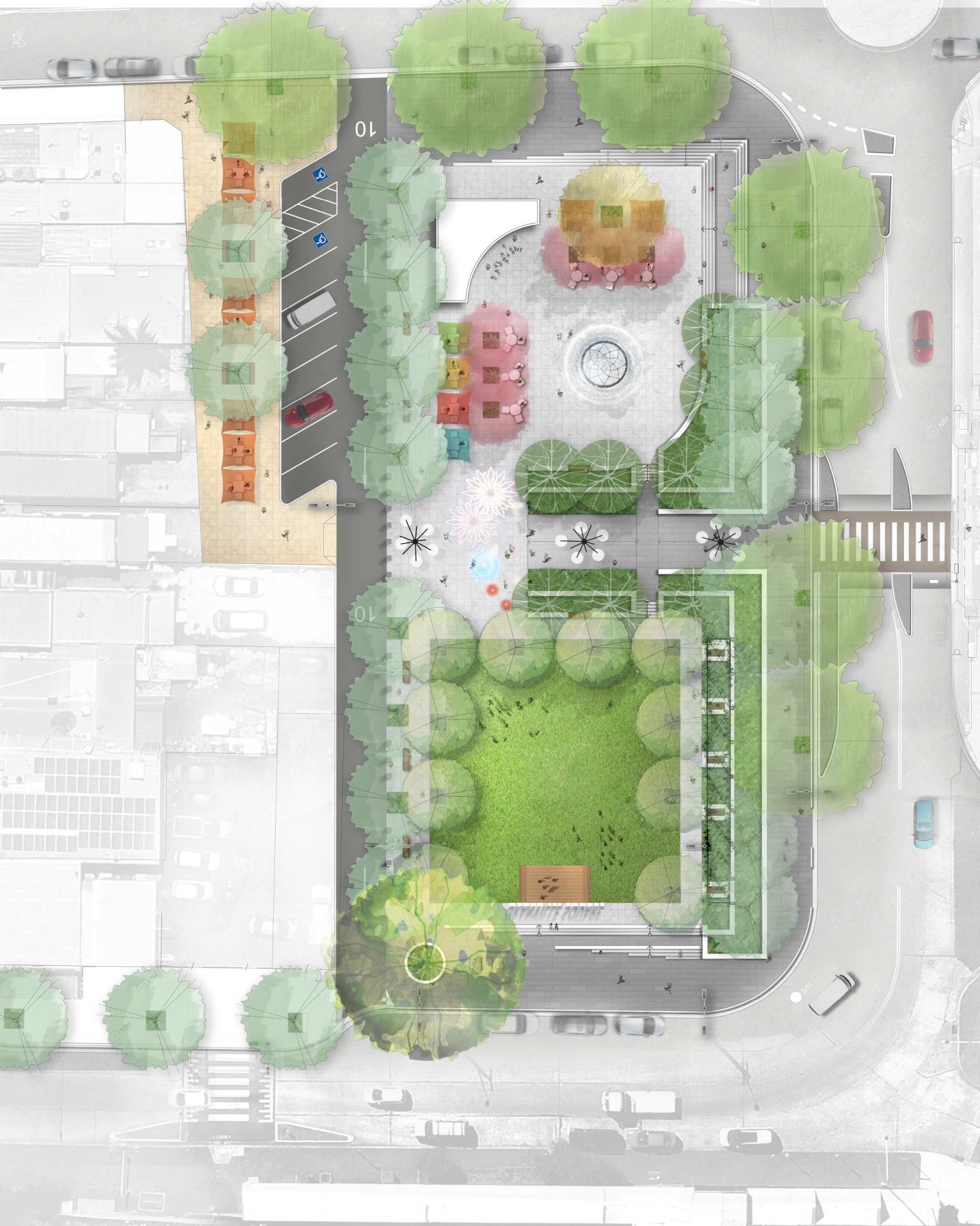 After: Illustration of the future site concept plan whichs shows the removal of the commuter car park, and instead a lush green open space for the community to sit and children to play. New tree plantings, accessible pathways and dining areas fr picnics and acti