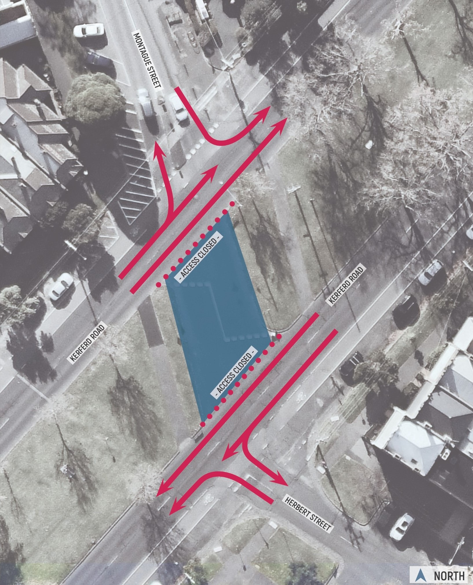 Aerial map showing permitted traffic movements at Kerferd Road