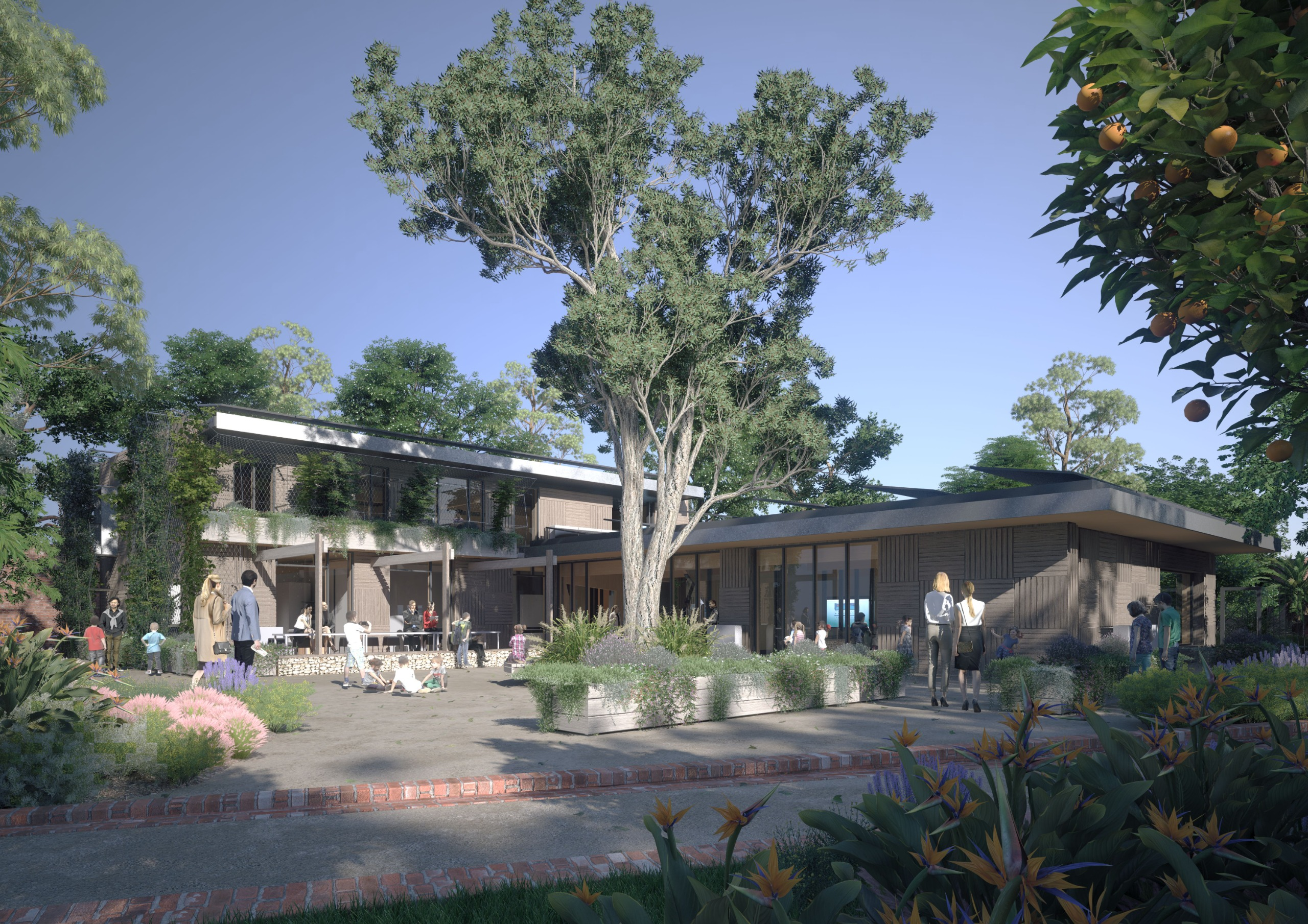 Artist's impression of the courtyard from the St Kilda Botanical G