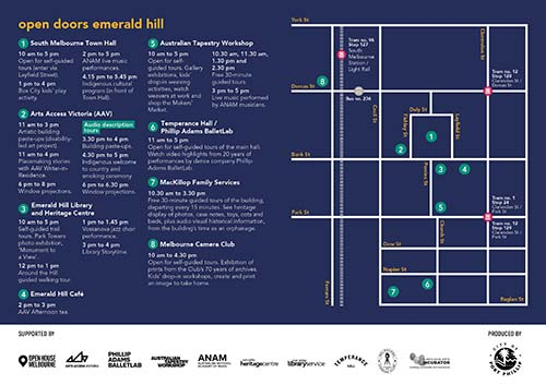 Open Doors Emerald Hill event program and map