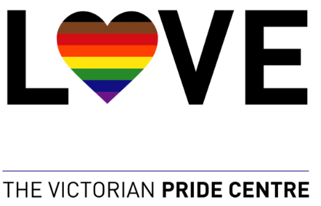 The word love with the victorian pride centre written underneath