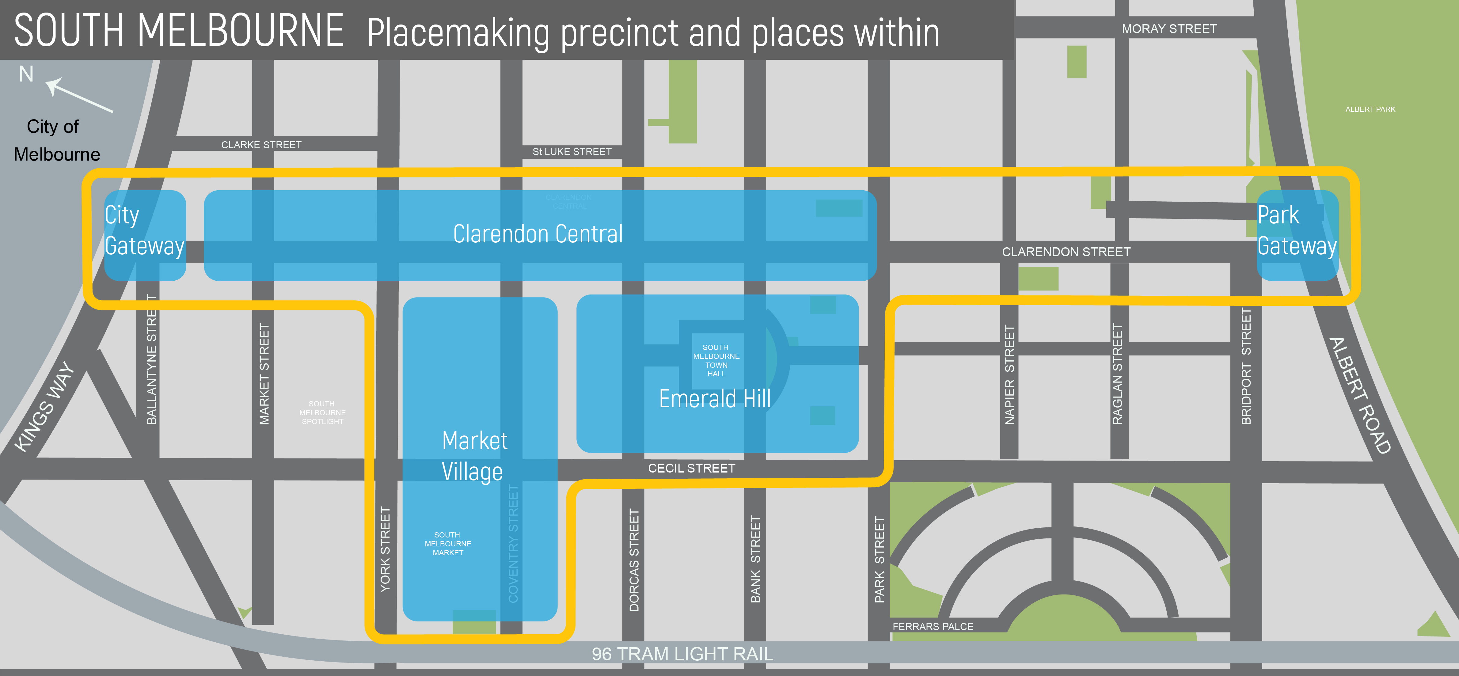South Melbourne Placemaking Precinct Map