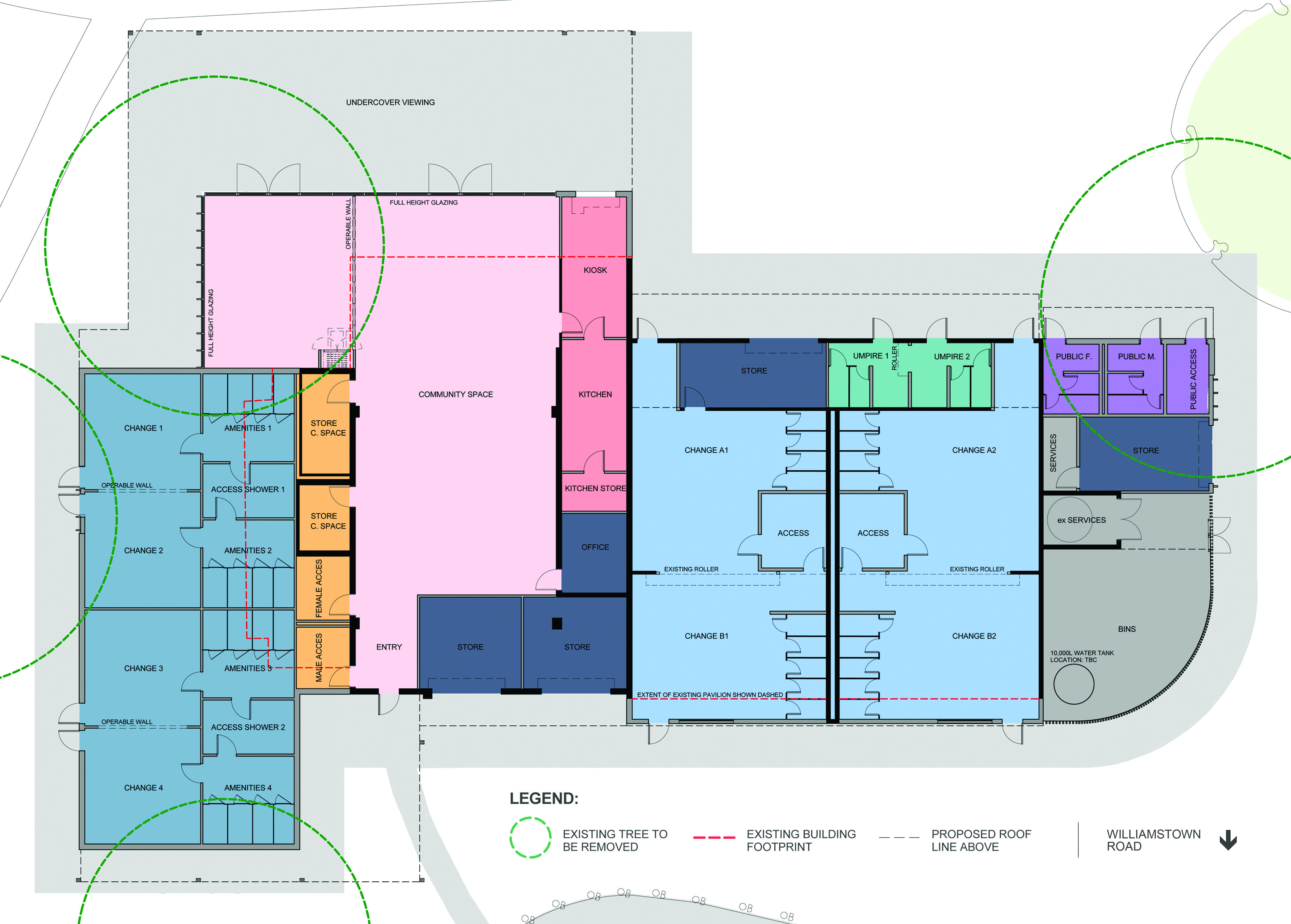 Floor plan with community space highlighted in pink