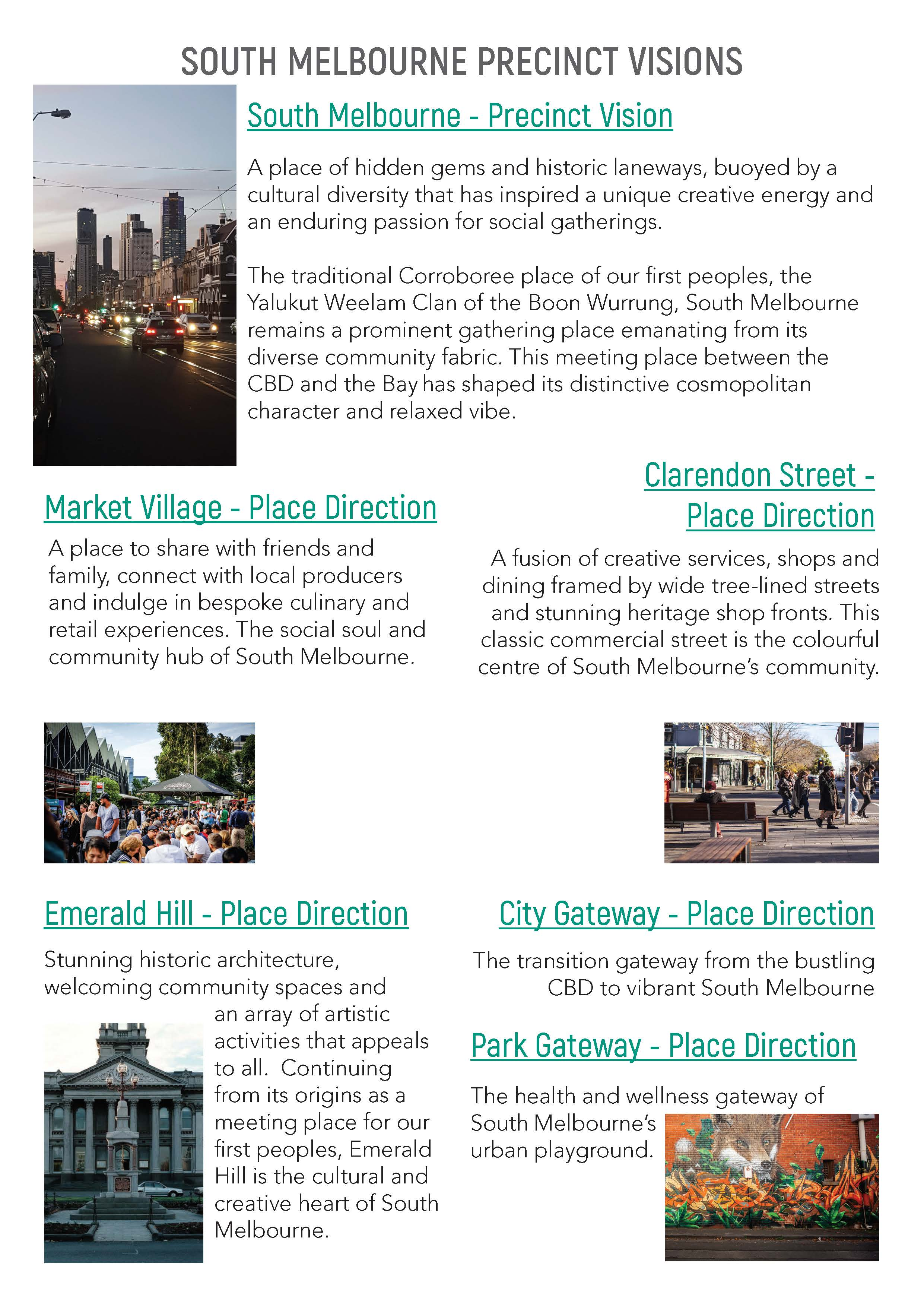 Text of all draft vision and place direction for South Melbourne