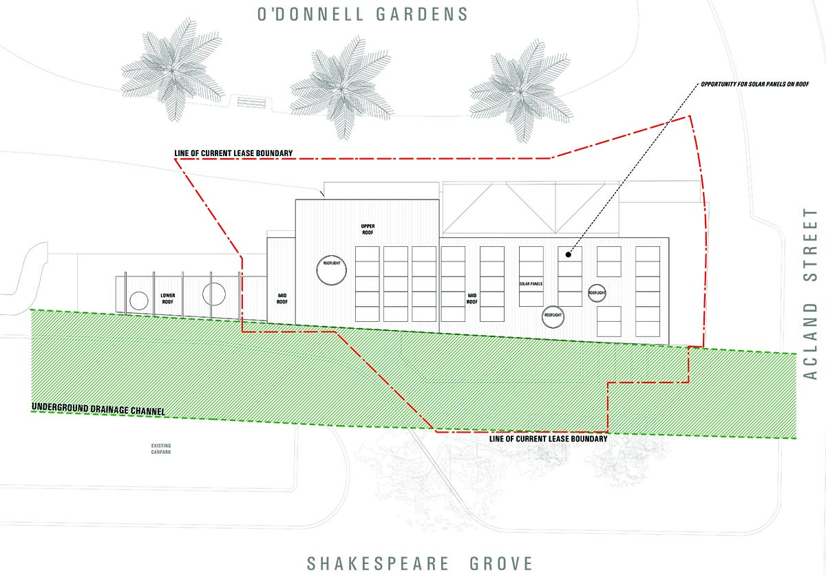 Design showing the roof plan for The Vineyard Restaurant redesign