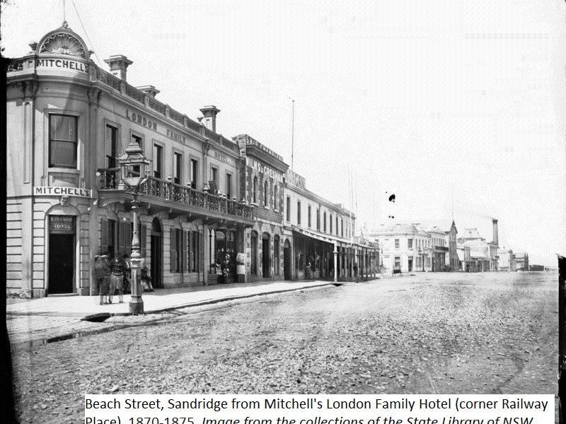 Beach Street, Sandridge from Mitchell's London Family Hotel (corner Railway Place), 1870-1875, Image from the collections of the State Library of NSW