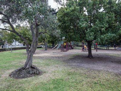 Long view of the junior playground showing slides, swings, a tanbark base with trees close by.