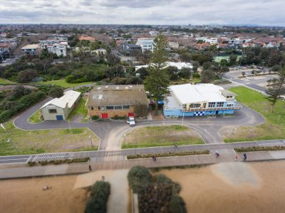 Aerial view of the Elwood foreshore buildings