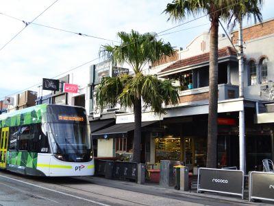 An E-Class tram on Acland Street