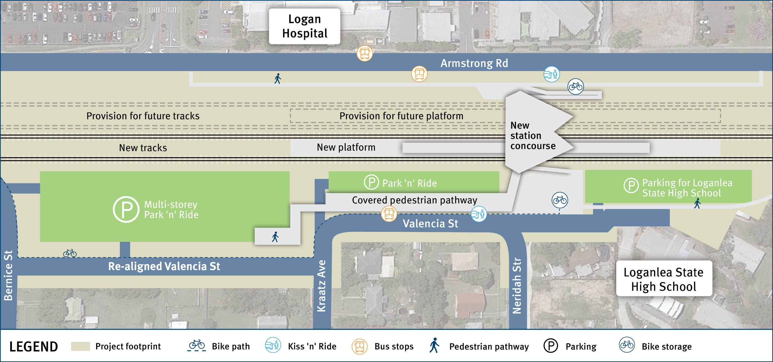 Draft layout of the new station and park and ride