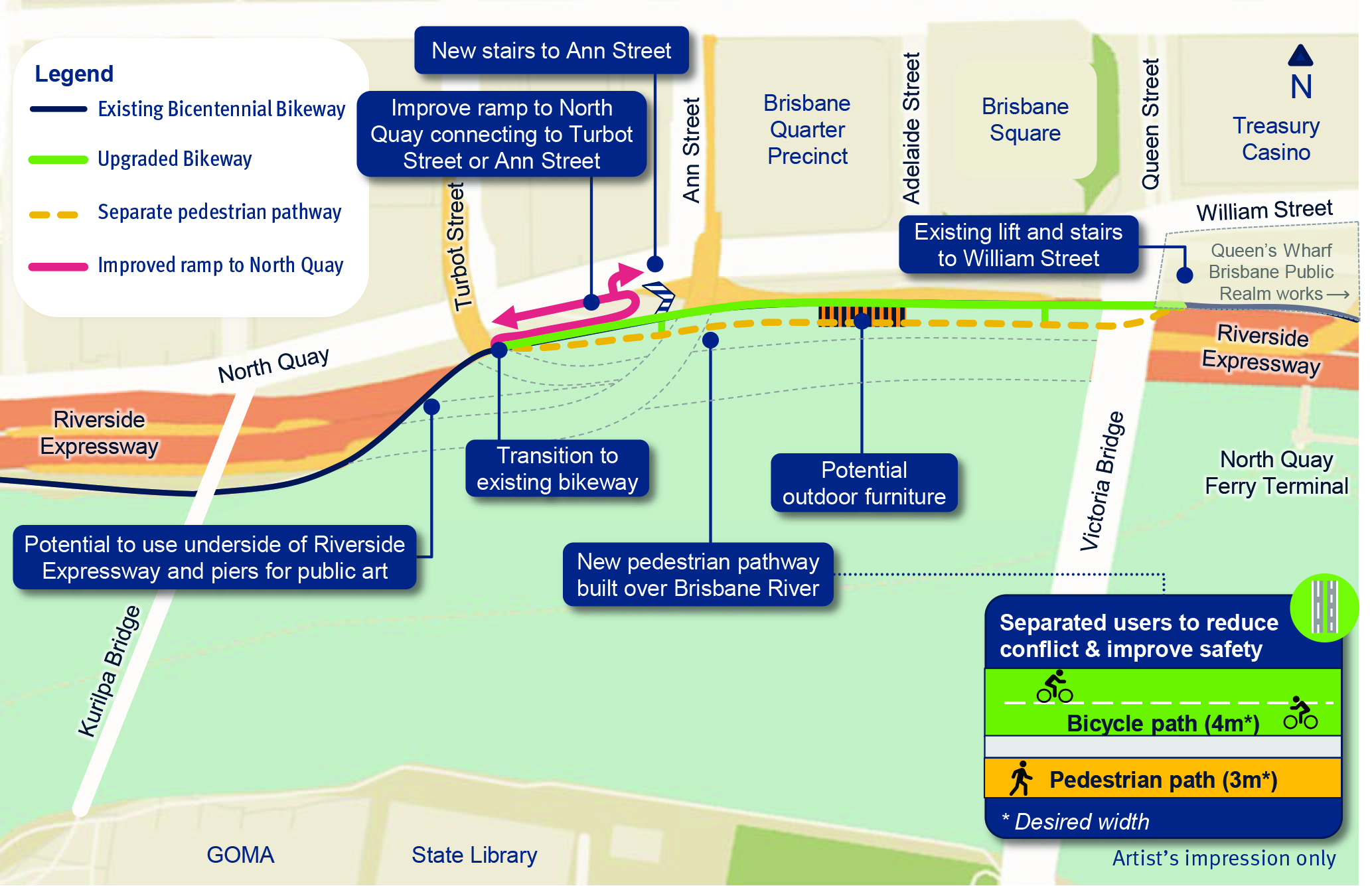 Bicentennial Bikeway - Kurilpa Bridge to Victoria Bridge upgrade - Concept Map