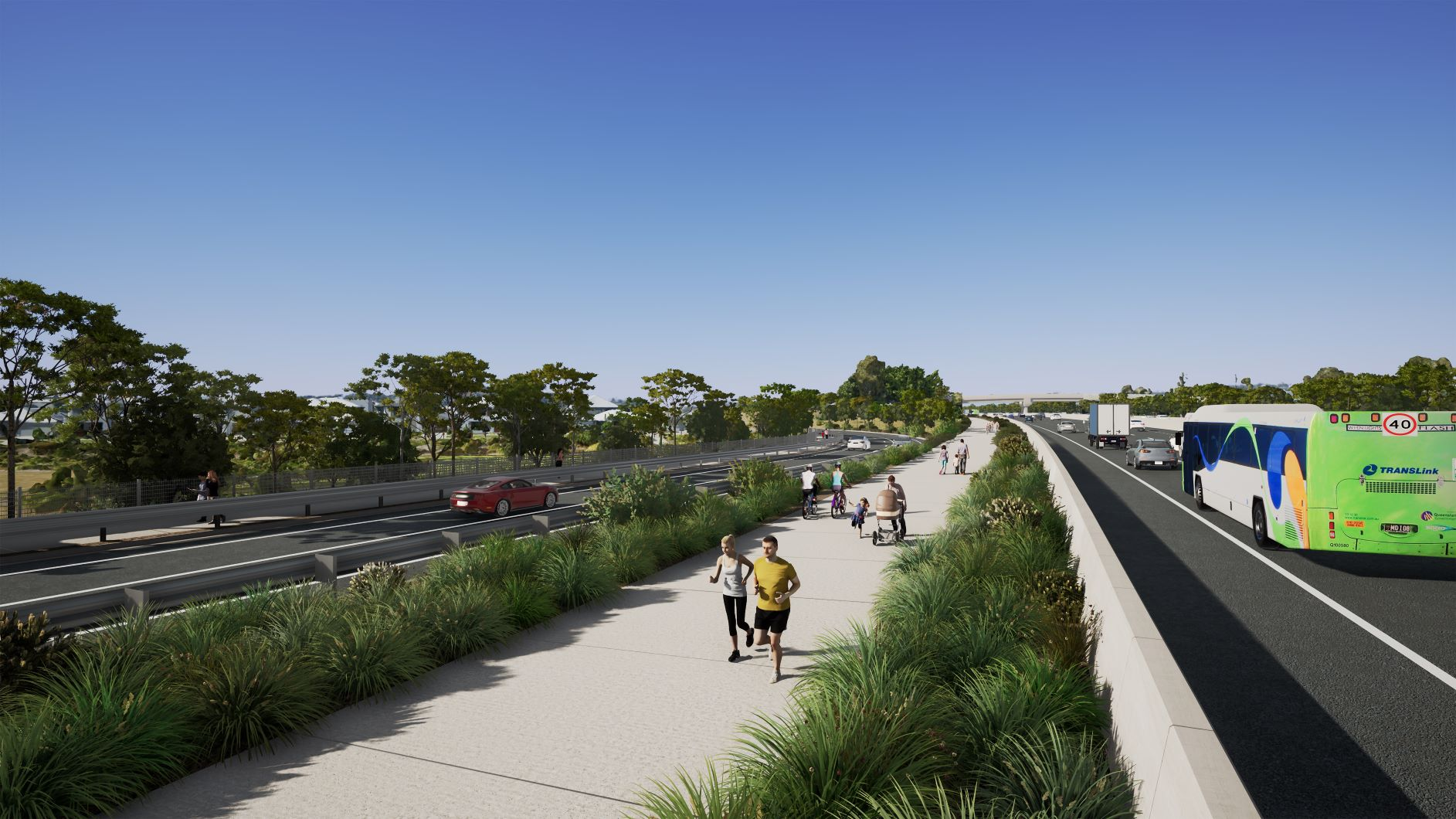 Concept of shared path for walking and bike riding at Helensvale, looking south