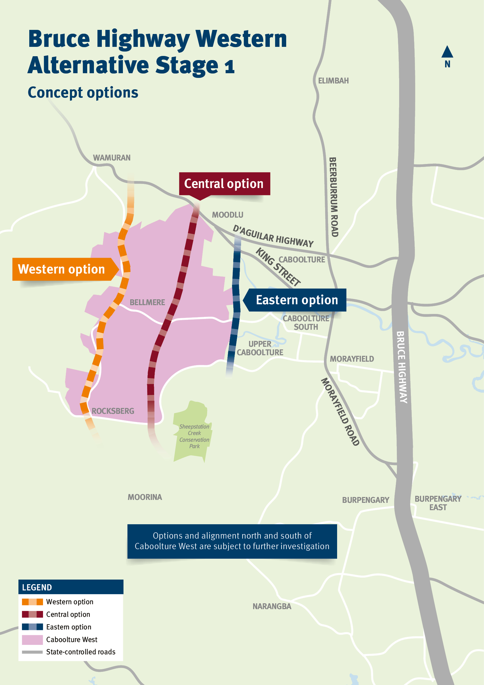 Concept options map for the Bruce Highway Western Alternative Stage 1 (Caboolture West)