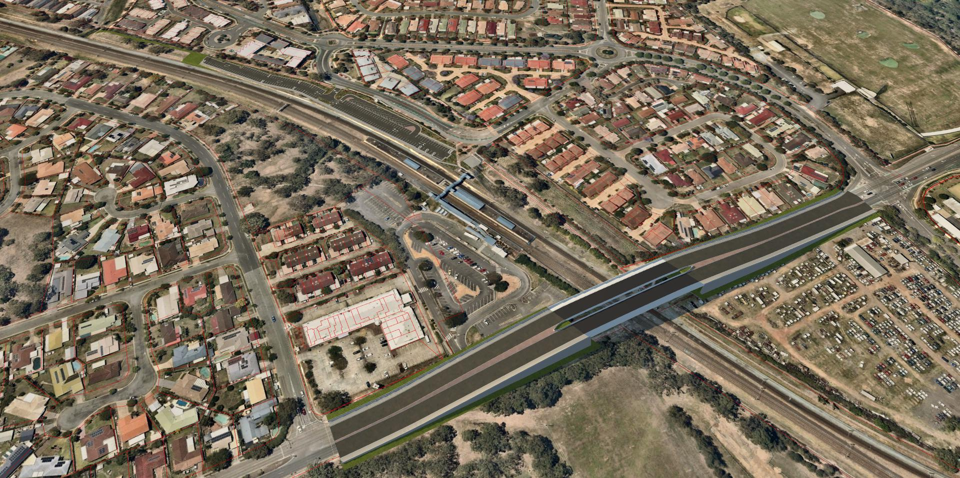 Artist's impression of Beams Road overpass preferred design
