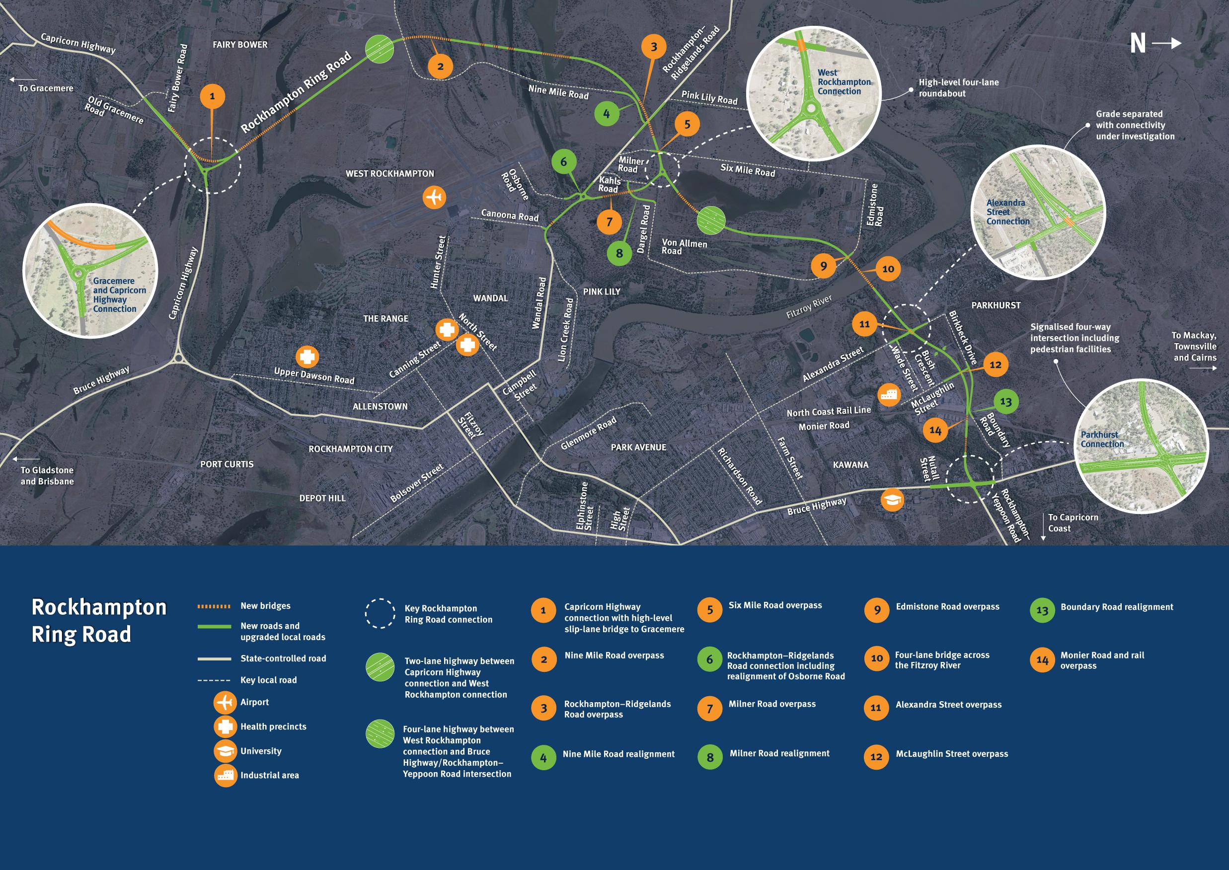 Rockhampton Ring Road alignment map