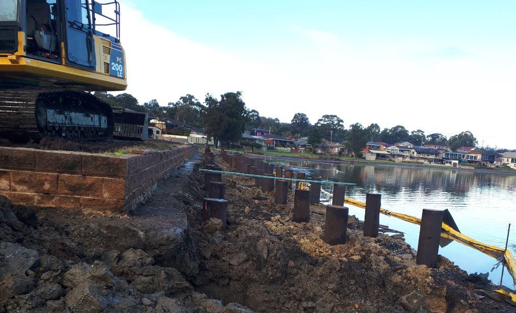 Installation of marine grade timber piles