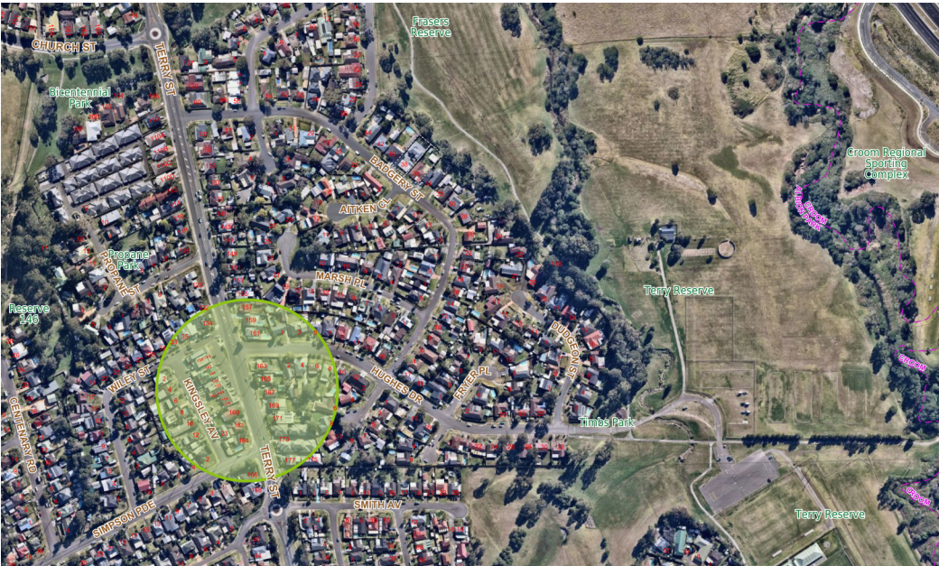 Map of Terry Street, between Wiley Street and Simpson Parade, Albion Park.