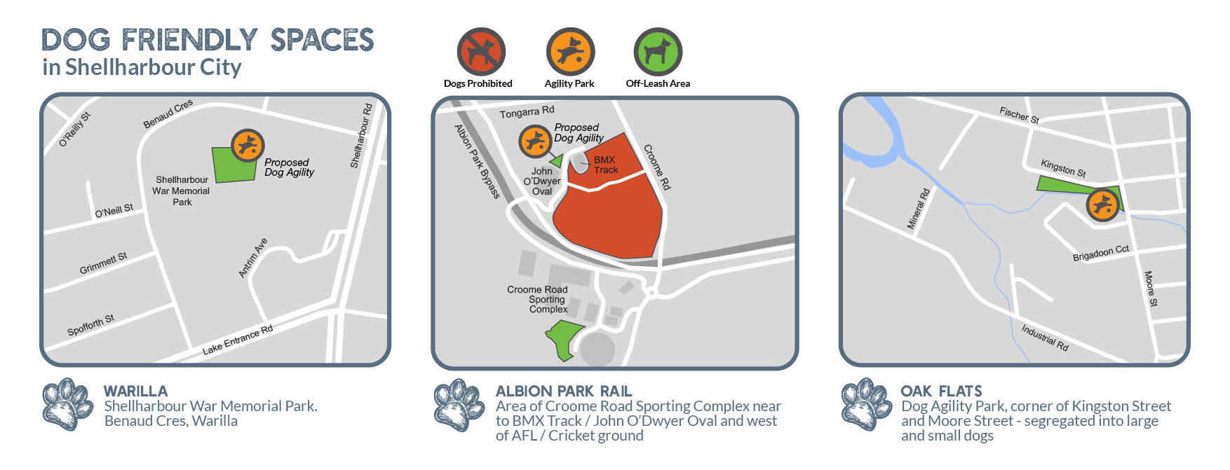 Maps showing locations of the three dog parks